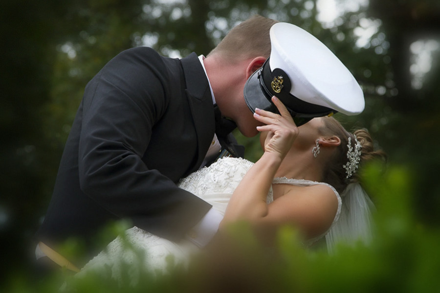 Wedding Photo with a Kiss